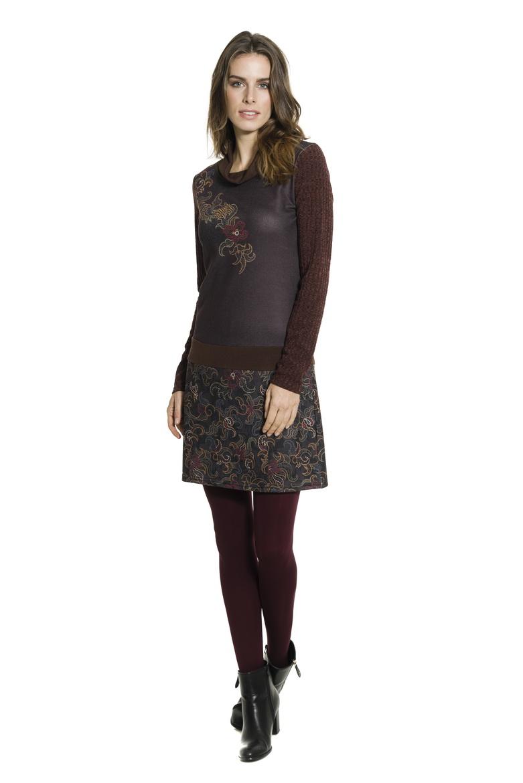 90af0c9b68a Smash NANCY krátké šaty s dlouhým rukávem hnědé se vzorem · Akce