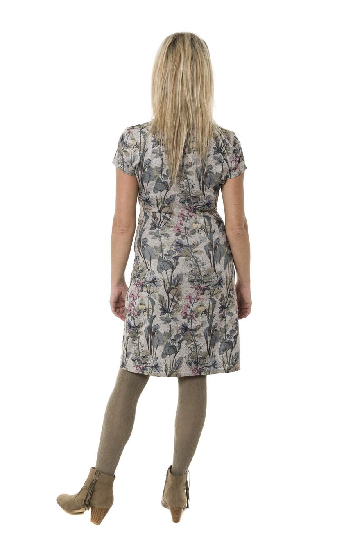 fb8e14625730 Smash AVELINA krátké šaty béžové se zeleným květinovým vzore