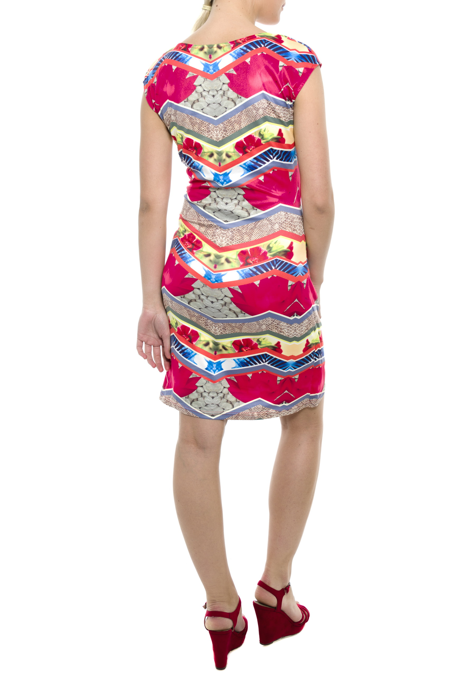 94e5296f4037 Dámské šaty s květinovým vzorem Avelina a krátkým rukávem