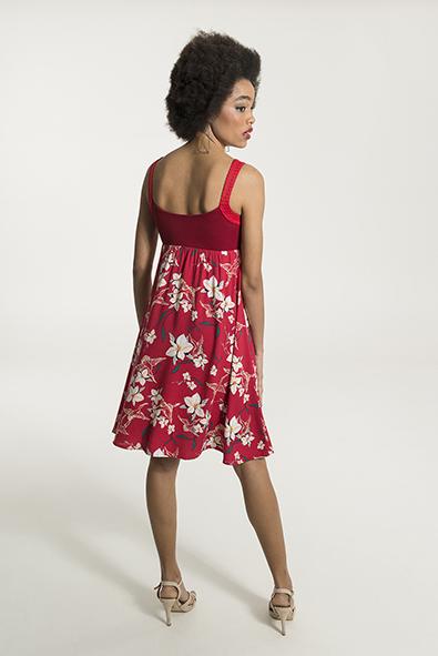 43f7233fa575 Smash MINNIE Dámské krátké šaty červené s květinovým vzorem