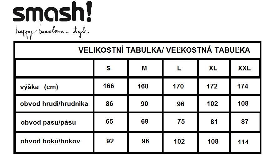 velikostní tabulka Smash JPG