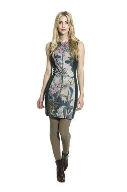 Smash ESPY krátké pouzdrové šaty tmavě zelené s květinovým vzorem