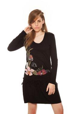 Mamatayoe PIOVENE krátké šaty černé s květinovou aplikací