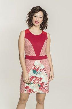 Smash PAPOILA Dámské pouzdrové šaty červené se vzorem