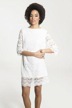 Smash RENATA Dámské krátké krajkové bílé šaty