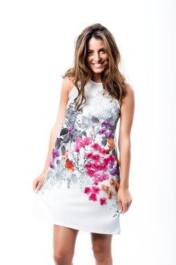 Mamatayoe Saint-tropez Dámské krátké šaty bílé s květinovým vzorem - ginger