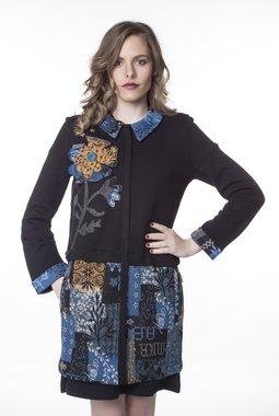 Mamatayoe Plumetis kabátek modrý se vzorem