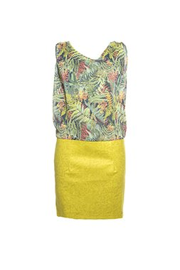 Smash BENTEVI Dámské krátké šaty zelené se vzorem