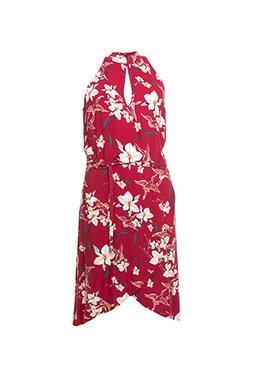 Smash VALESCA Dámské krátké šaty červená s květinovým vzorem
