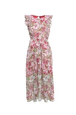 Smash PANARA Dámské dlouhé šaty růžové se vzorem