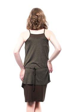 Mamatayoe Sabina Dámské krátké šaty tmavě zelené - saran